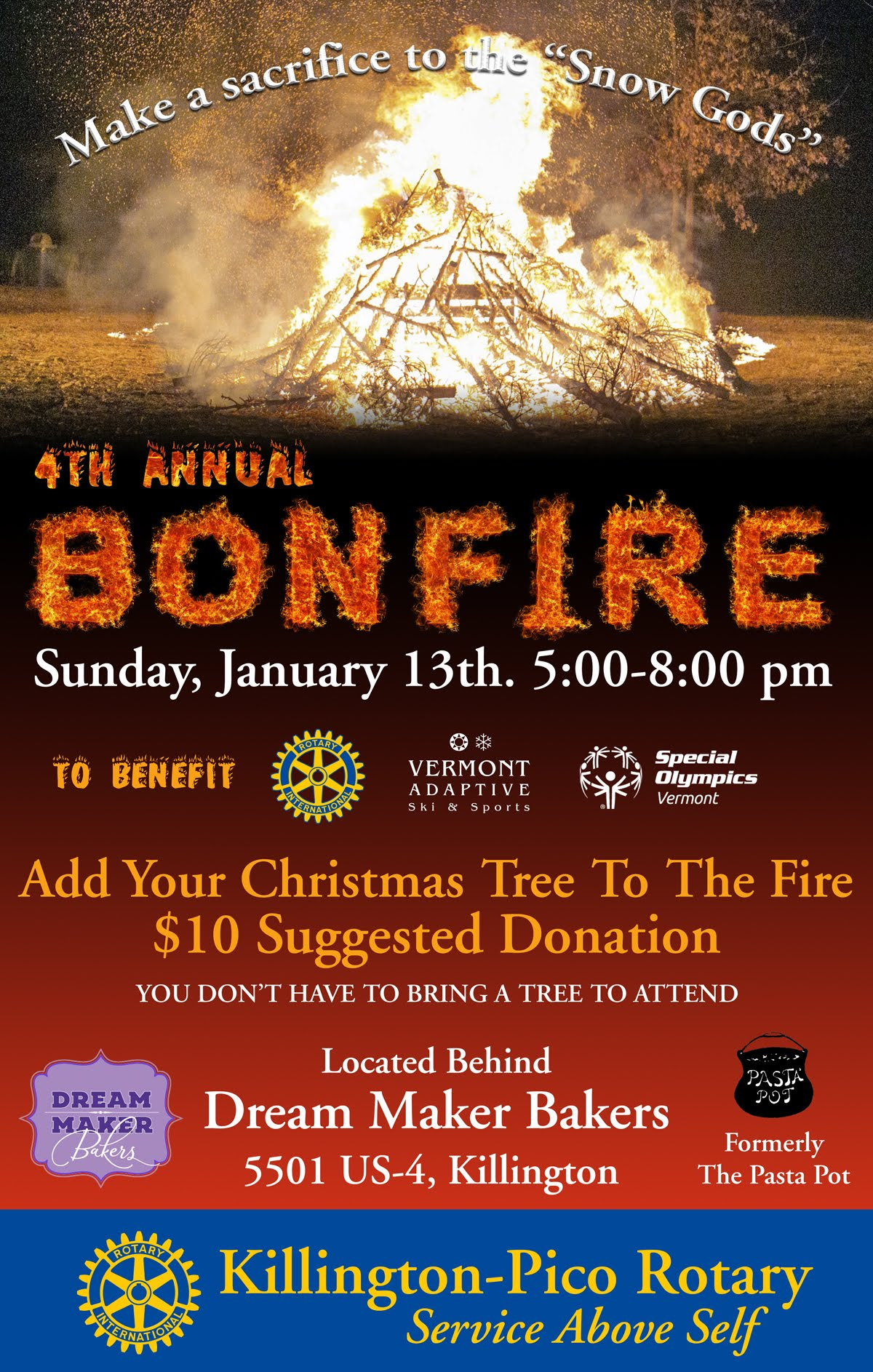 4th Annual Rotary Bonfire. January 13th. 5pm